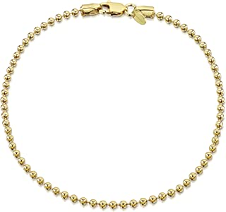 18K Gold Plated on 925 Sterling Silver 2 mm Ball Chain Bracelet 7