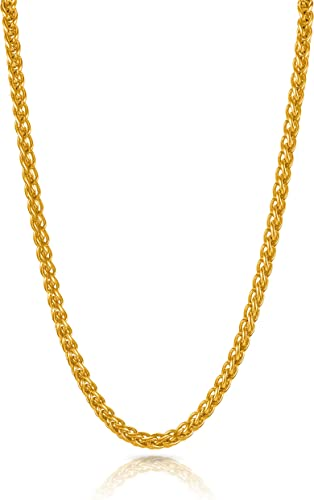 Gold Plated Latest Fashion Stylish Party Wear Thick Long Trending Design Interlinked Neck Chains For Men and Boys