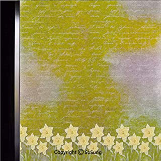 18×18 inch Decorative Static Cling Frosted Privacy Window Film,Bunch of Potted Daffodils under Calligraphy Lettering Featured Flower of Spring Glass film for Window Glass Panels,UV Protection,Energy S