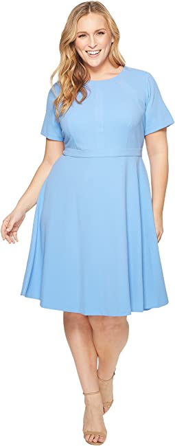 Donna Morgan Plus Size Fit and Flare Crepe Dress with Seaming Detail