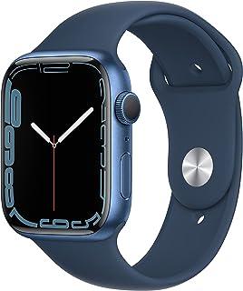 ساعة ابل السلسلة 7 (نظام تحديد المواقع ، 45 ملم) - هيكل ألمنيوم أزرق وسوار رياضي بلون أزرق - مقاس عادي