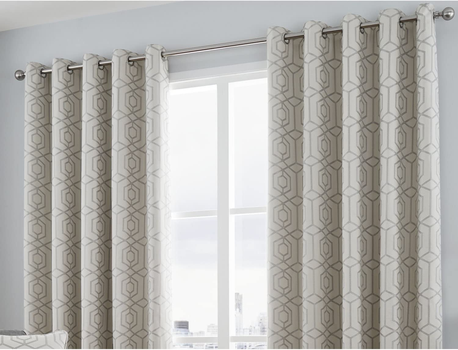 Camberwell Geometric Fully Lined Eyelet Omaha Mall Grommet S Top Curtains Max 56% OFF -