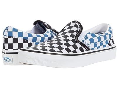 Vans Kids Classic Slip-On (Big Kid) ((Checkerboard) Black/Navy) Boys Shoes
