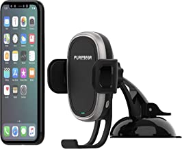 PureGear AutoGrip 10W Wireless Car Charger, Dash Mount for Qi Enabled Phone, Self Gripping System, with QC 3.0 Car Charger, 3FT USB C Charging Cable, Black (Upgraded Version)