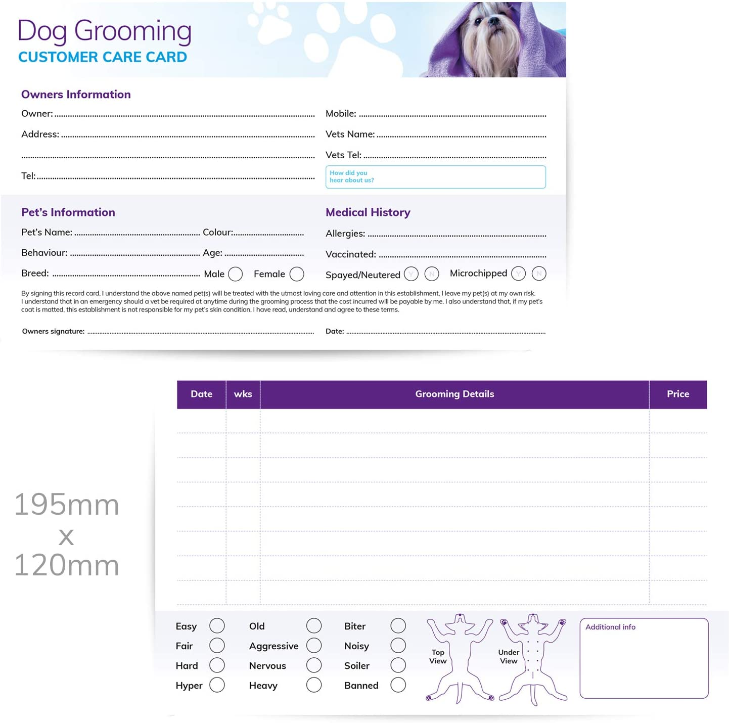 Dog Grooming Customer Care Record Cards 21x pack : Amazon Intended For Dog Grooming Record Card Template