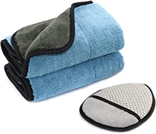 SEG Direct Polishing Kit 3 Set - 1 Dual Purpose Wax Applicator Pad + 2 Extra Thick Polishing Towel - for Car Kitchen Bathroom Household Cleaning