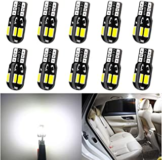 10-Pack T10 194 168 168 2825 Extremely Bright White 240Lums Canbus Error Free 12V LED Light,8-SMD 5730 Chipsets Car Replacement Bulb For Map Dome Courtesy License Plate Side Marker Light