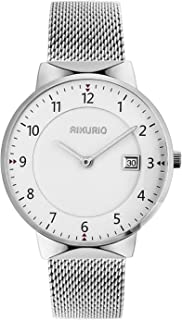 AIKURIO Men Women Unisex Quartz Analog Watch Fashion Simple Design with Stainless Steel Strap and Calendar AKR010