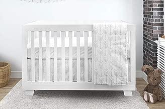 Bebelelo Baby Crib Bedding Set 4 Pieces, Silver Gray Arrow Design,Unisex (Boys & Girls), Including: Fitted Sheet + Crib Comforter + Comforter Cover + Skirt