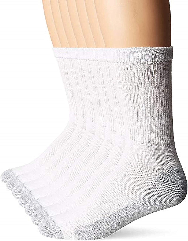 Hanes Men's Cushion Crew Socks (6-Pairs: Shoe Size 6 -12/Sock Size 10-13, White)