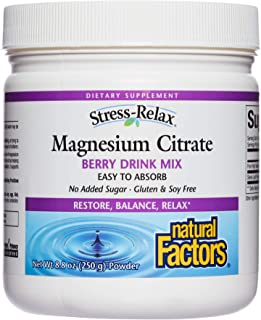 Stress-Relax Magnesium Citrate Drink Mix by Natural Factors, Restores Normal Levels of Magnesium & Balances Calcium Intake...