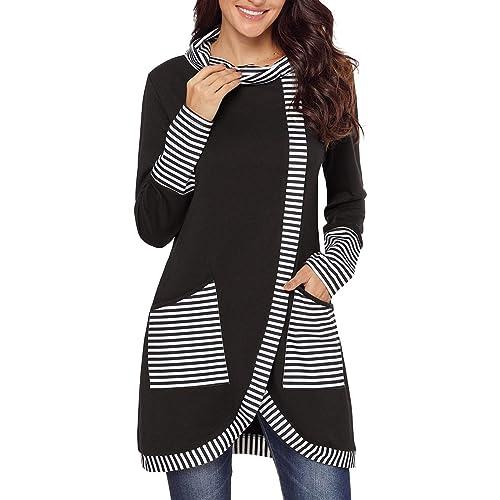 891aebda54c Happy Sailed Womens Striped Asymmetric Striped Cowl Neck Tunic Top with  Pockets