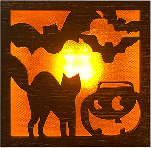 wholesale Halloween Decorative Light Creative Halloween wholesale LED Wooden Light, Witch Bat Cat Pattern Wood Lamp for Home high quality Room Decor (Style C) outlet sale
