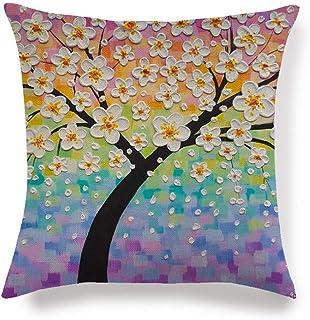 Vioness - Funda de cojín con diseño de árbol de la vida, flor pétalos coloreados, ramas de vista 3D, pintura de lino, algodón, funda de almohada decorativa, sofá, cama, oficina, 45 x 45 cm #9