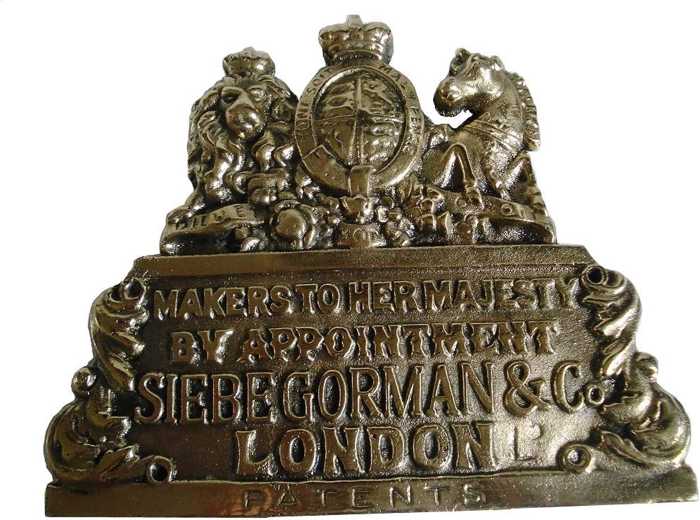SIEBE Gorman Maker's Brass Plate PlaqueLondon from Brass Blessing- Marine Nautical Boat Diving Helmet Boat Maritime (5119)