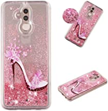 HMTECHUS Huawei Mate 20 lite case for Girl Glitter Liquid Sparkle Floating Shiny Quicksand Clear Soft TPU Silicone Shockproof Protective Bumper Thin Cover for Huawei Mate 20 lite Bling High Heels XY