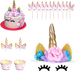 31 Pieces Unicorn Cake Topper Set Unicorn Horn Cupcake Toppers with Eyelashes Cake Decor and Wrappers Decoration Rainbow D...