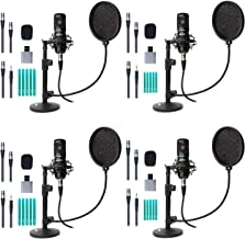 Movo 4-Pack Universal Cardioid Podcasting Microphone Bundle with Tabletop Mic Stand and Pop Filter, for 3.5mm, XLR or USB Outputs