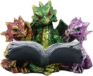 Ebros Gift Metallic Colorful Three Bookworms Baby Dragons Reading Scholastic Book Statue Whimsical Hatchlings Wyrmlings Fi...