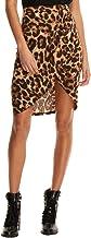 SheIn Women's Casual Split Warp Asymmetrical Leopard High Waist Mini Short Skirt