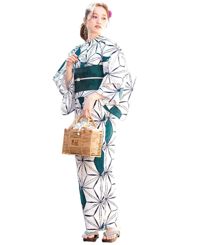 (ソウビエン)レディース浴衣セット 白系 オフホワイト 緑 麻の葉 綿 女性 花火大会