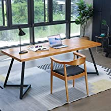 Solid Wood Desktop Computer Desk, Simple Office Writing Desk, Durable Desk for Home Bedroom with Chair