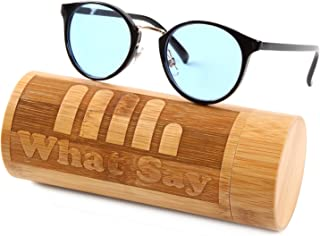 What Say ゴールドブリッジ クラシックフレーム カラーレンズ サングラス クリアレンズ 伊達メガネ 全22色 アジアンフィット トレンド UV400 メンズ レディース ソフト & ハードケース 付