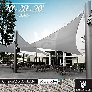 Royal Shade 20' x 20' x 20' Gray Triangle Sun Shade Sail Canopy Outdoor Patio Fabric Shelter Cloth Screen Awning - 95% UV Protection, 200 GSM, Heavy Duty, 5 Years Warranty, We Make Custom Size