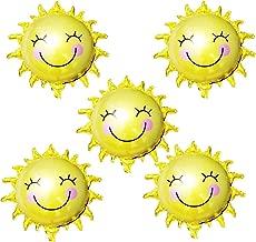 HAIOPS Sun Flower Foil Balloons Smiley Sunshine Sun Aluminum Balloon Birthday Wedding Decoration 26 Inch, 5 Pcs