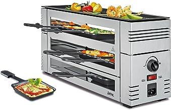 Spring Raclette à pizza 6 en argent, plaque de cuisson en aluminium, 6 personnes