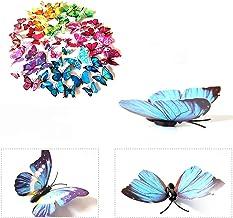 3D-Vlinders, 72 stuks, muurstickers, wanddecoratie voor woning, met plakpunten en magneet, 12 x blauw + 12 x kleur + 12 x ...