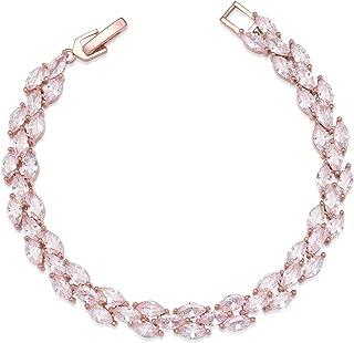 SWEETV Cubic Zirconia Wedding Bridal Bracelets Jewelry for Brides,Bridesmaid,Women