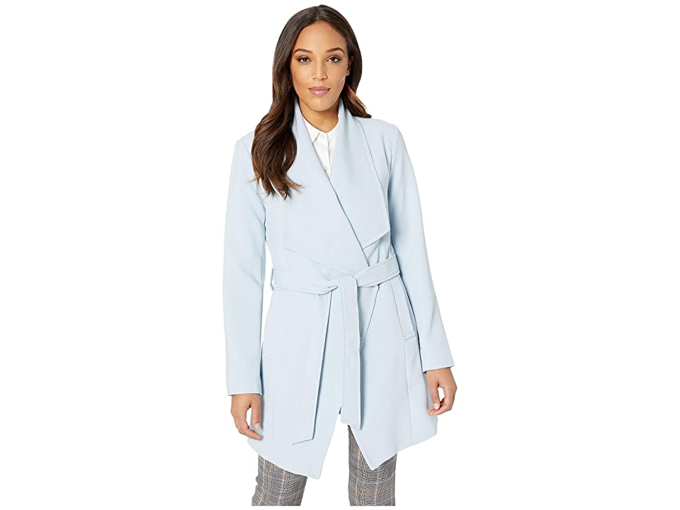 Tahari Shawl Collar Wrap Coat (Pale Blue) Women