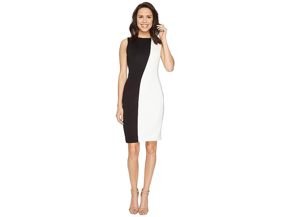 Calvin Klein Color Block Sheath Dress CD7M1T9V (Black/White) Women