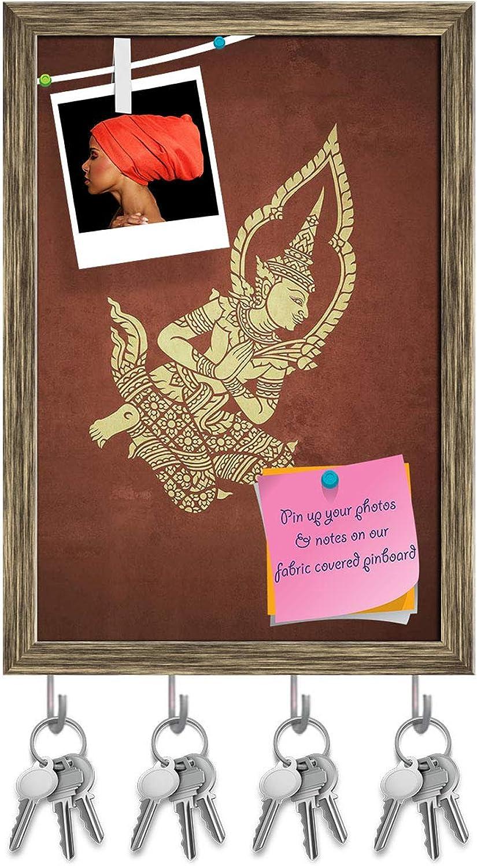 Artzfolio Deva in Temple Key Holder Hooks   Notice Pin Board   Antique golden Frame 12 X 17.6Inch