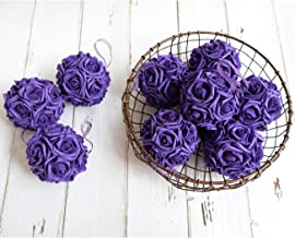 idyllic 9pcs Rose Flower Foam Kissing Balls for Bridal Wedding Centerpiece Party Ceremony Decoration 3.5 Inches (Purple)