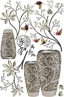 frigidssm Modern Chinese Letter Exotic Flower Vase Faux Butterfly Wall Sticker Wall Decal for Living Room Home Decor Multicolor