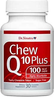 Dr. Stephen Sinatra's ChewQ10 Plus, 100 mg CoQ10 Chewable Orange-Tasting Sugar-Free Tablet with Highly Absorbable Hydro Q-...