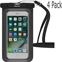 Waterproof Case,4 Pack iBarbe Universal Cell Phone Dry Bag Pouch Underwater Cover for Apple iPhone X 8 Plus 7 7 Plus 6S 6 6S Plus SE Samsung Galaxy Note s9 s s8 LUS S7 S6 Edge etc.to 5.7 inch,Black