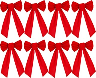 Artiflr 8 Pack Red Velvet Christmas Bow, 9.5 X 17.2inch Large Holiday Red Bow for Christmas Wreath Christmas Tree Xmas Garland Window Wall Large Gifts