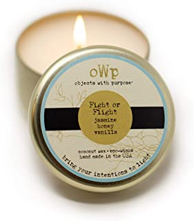 Objects With Purpose New Grande Tin Candle: All Natural and Non-Toxic Coconut Wax Candle, Essential Oils and Aromatherapy Fragrance Blends to Relieve Stress and Help You Relax (Jasmine & Vanilla)