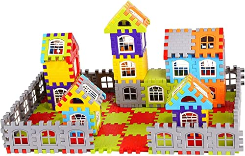 Vijaya Impex 90 pcs Jumbo Blocks House Multi Color Building Blocks with Smooth Rounded Edges Building Blocks for Kids Blocks Game for 3 Years Old Girls Boys Made in India Multicolor Medium 4 5 CM Set of 2 PCs