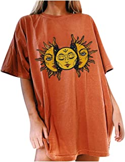 Graphic Tees for Women Trendy Oversized Sun Moon Natural...