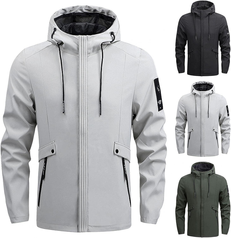 JSPOYOU Mans Trench Coats Outdoors Hooded Rain Jacket Windpoof Lightweight Packable Windbreaker Plus Size