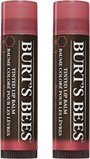 Burt's Bees 100% Natural Tinted Lip Balm, Rose with Shea Butter & Botanical Waxes - 1 Tube, Pack of 2