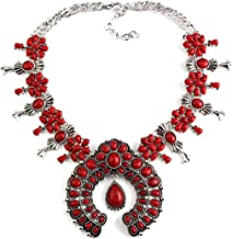Olsen Twins Boho Faux Stone Squash Blossom Necklace, Vintage Bohemian Turquoise Necklace Statement Jewelry