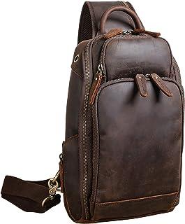 Polare Modern Style Sling Shoulder Bag Men's Travel/Hiking Daypack with Full Grain Italian Leather and YKK Zippers(Medium)