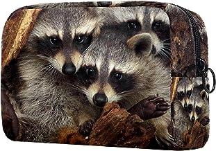 Damska torba do makijażu, kosmetyczka zwierzęta ukrywające się w lesie na podróż, organizer na kosmetyki