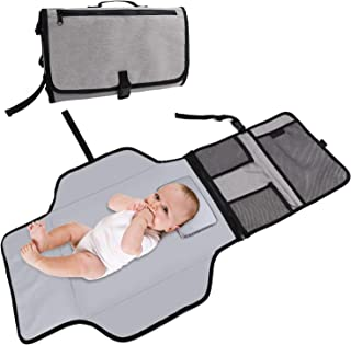 izbuy Baby Portable Changing Pad Diaper Bag Waterproof Travel Changing Mat Station Built-in Head Cushion Grey Large