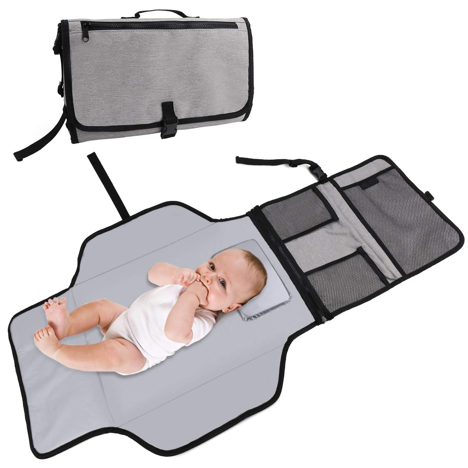 Baby Portable Changing Pad, Waterproof Diaper Bag, Travel Mat Station Built-in Head Cushion and Pockets Grey Large